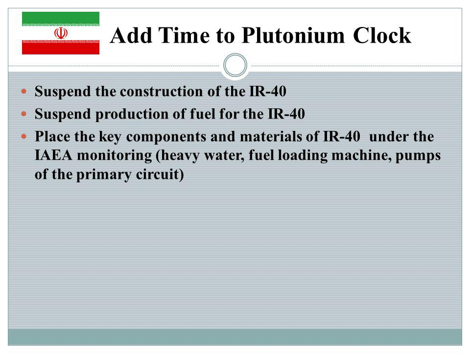 Add Time to Plutonium Clock Suspend the construction of the IR-40 Suspend production of fuel for the IR-40 Place the key components and materials of IR-40 under the IAEA monitoring (heavy water, fuel loading machine, pumps of the primary circuit)