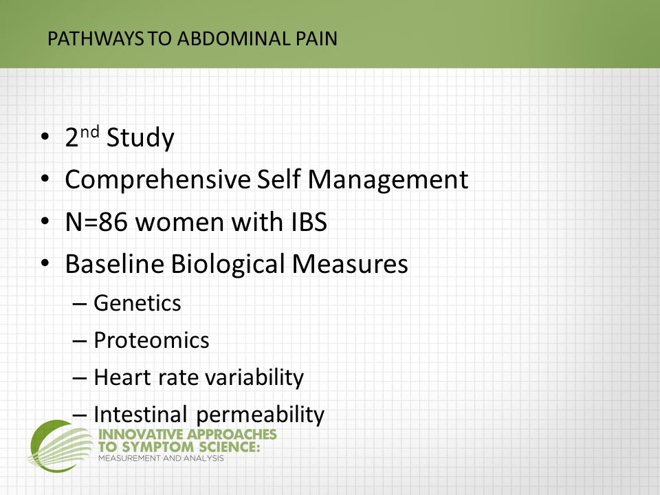 PATHWAYS TO ABDOMINAL PAIN 2 nd Study Comprehensive Self Management N=86 women with IBS Baseline Biological Measures – Genetics – Proteomics – Heart rate variability – Intestinal permeability