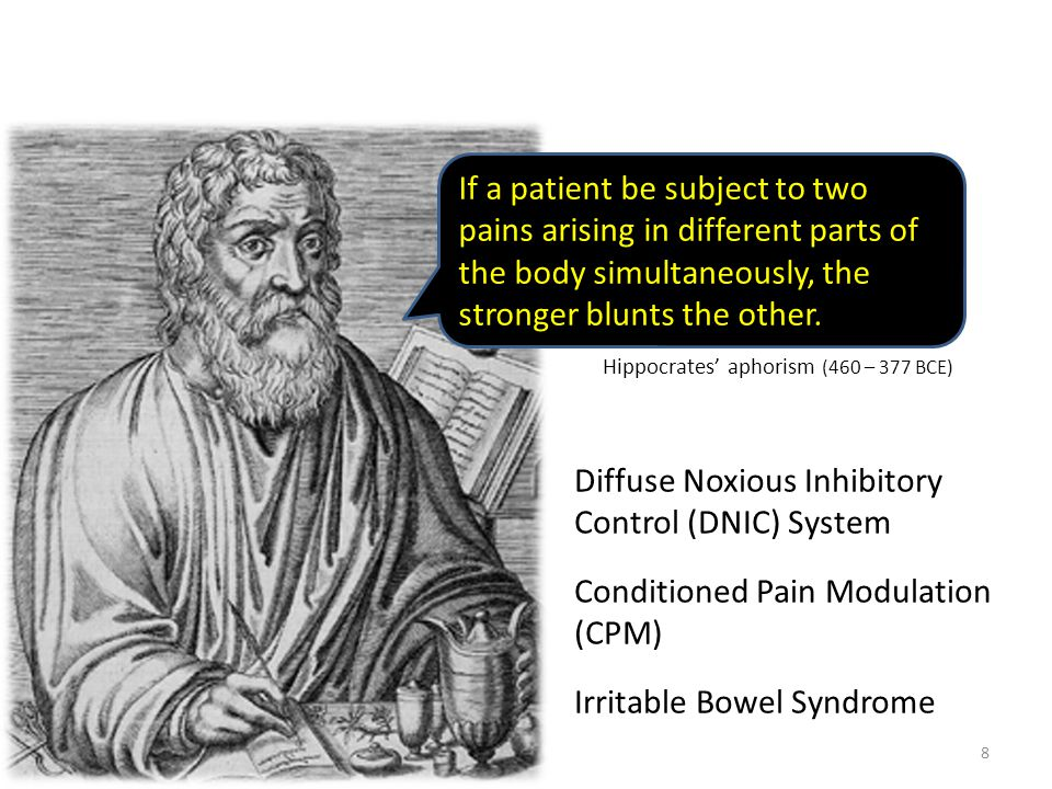 If a patient be subject to two pains arising in different parts of the body simultaneously, the stronger blunts the other.