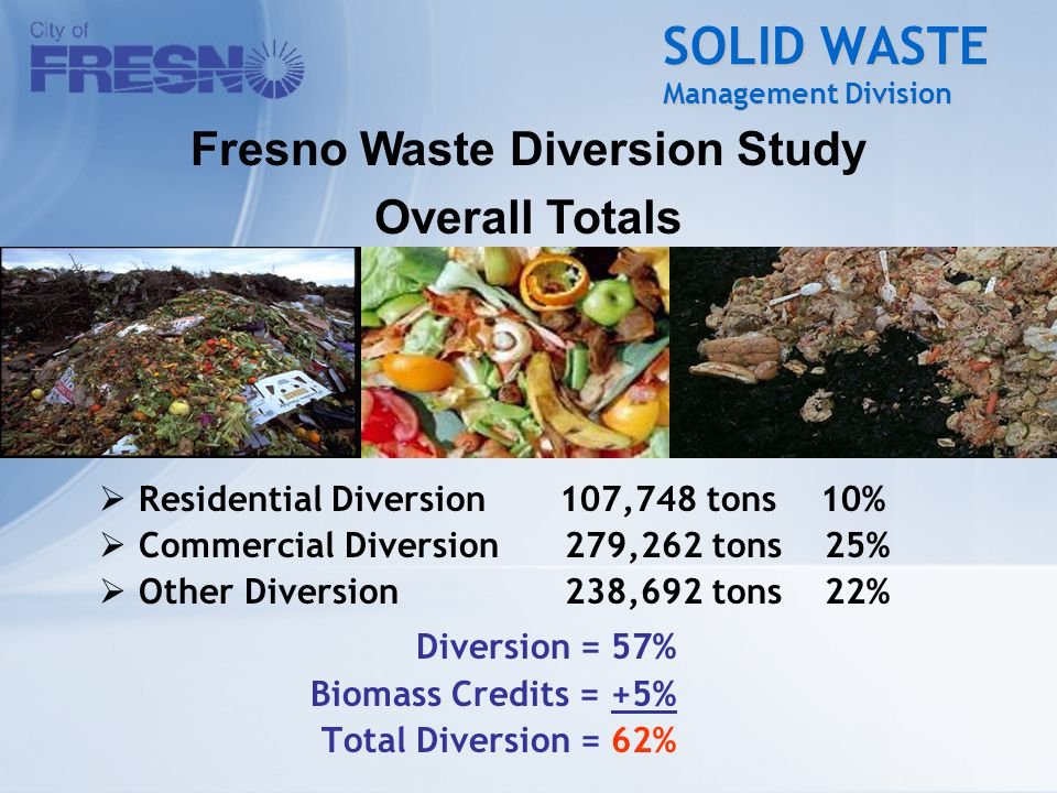 SOLID WASTE Management Division  Residential Diversion 107,748 tons 10%  Commercial Diversion 279,262 tons 25%  Other Diversion 238,692 tons 22% Diversion = 57% Biomass Credits = +5% Total Diversion = 62% Fresno Waste Diversion Study Overall Totals