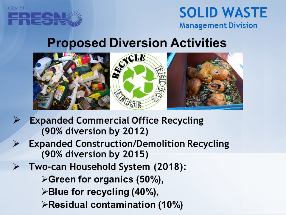 SOLID WASTE Management Division  Expanded Commercial Office Recycling (90% diversion by 2012)  Expanded Construction/Demolition Recycling (90% diver