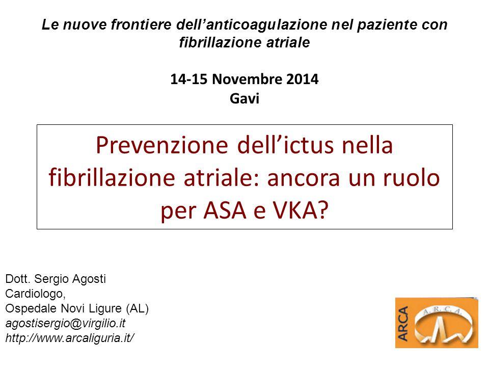 Le nuove frontiere dell'anticoagulazione nel paziente con fibrillazione atriale 14-15 Novembre 2014 Gavi Dott. Sergio Agosti Cardiologo, Ospedale Novi