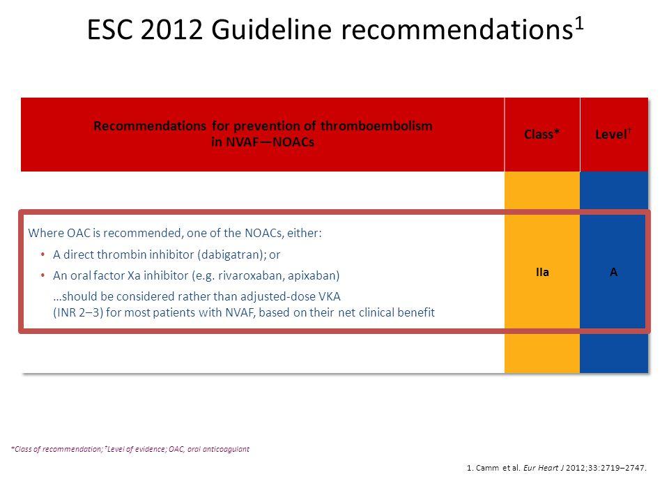 1. Camm et al. Eur Heart J 2012;33:2719–2747. *Class of recommendation; † Level of evidence; OAC, oral anticoagulant ESC 2012 Guideline recommendation