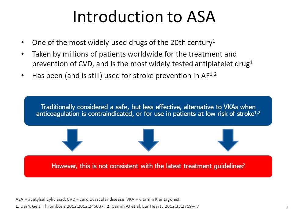Introduction to ASA One of the most widely used drugs of the 20th century 1 Taken by millions of patients worldwide for the treatment and prevention o