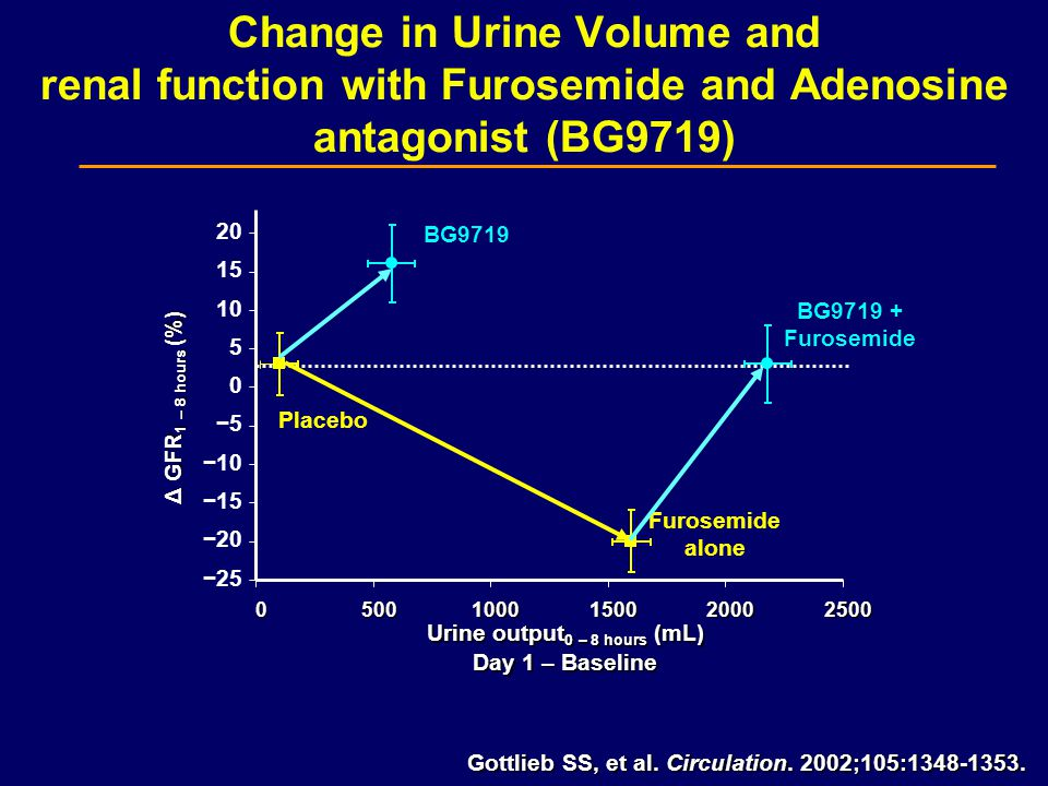 Change in Urine Volume and renal function with Furosemide and Adenosine antagonist (BG9719) 05001000150020002500 Urine output 0 – 8 hours (mL) Day 1 – Baseline Δ GFR 1 – 8 hours (%) Placebo Furosemide alone BG9719 + Furosemide BG9719 Gottlieb SS, et al.