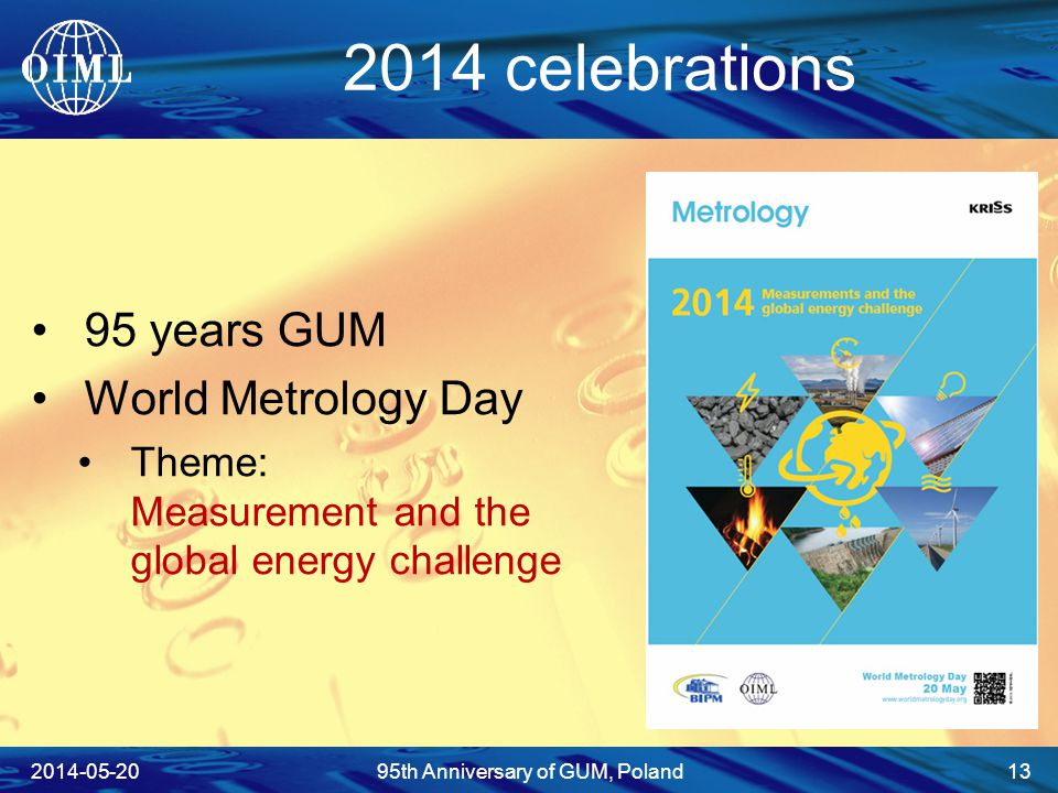 2014 celebrations 95 years GUM World Metrology Day Theme: Measurement and the global energy challenge 2014-05-2095th Anniversary of GUM, Poland 13