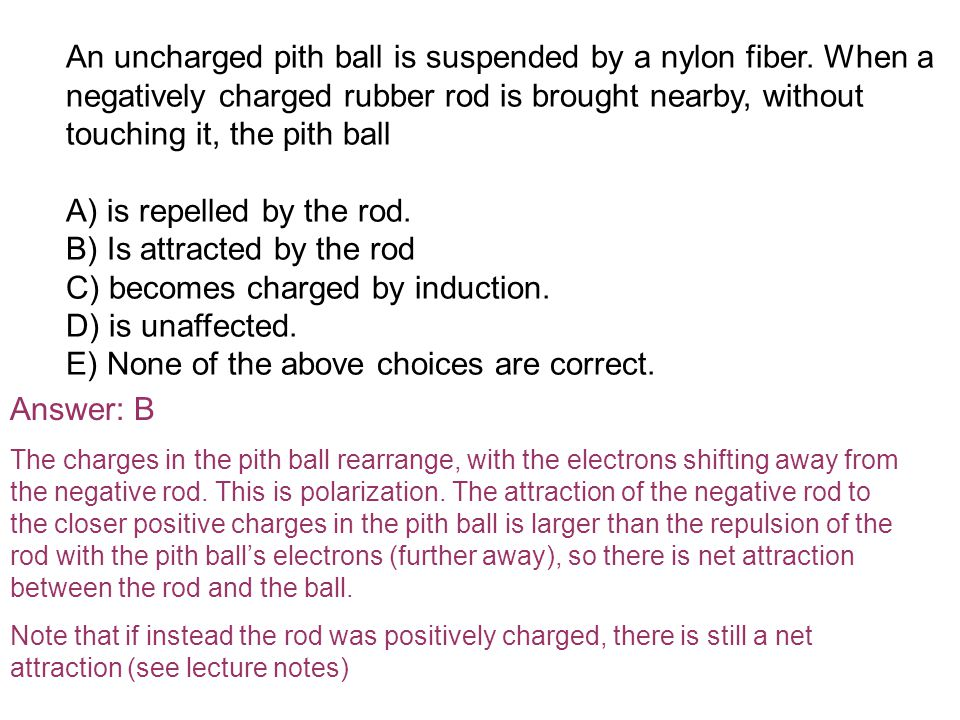 An uncharged pith ball is suspended by a nylon fiber.
