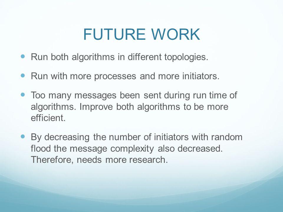 FUTURE WORK Run both algorithms in different topologies.