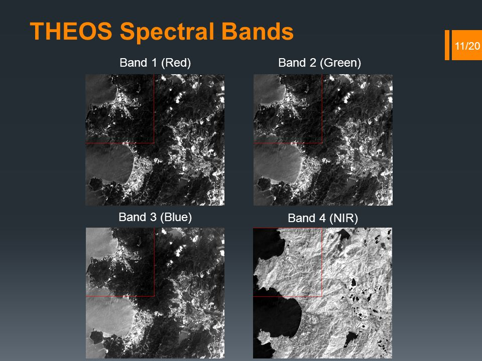Band 1 (Red)Band 2 (Green) Band 3 (Blue) Band 4 (NIR) THEOS Spectral Bands 11/20