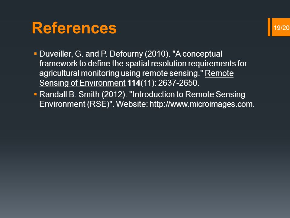References  Duveiller, G. and P. Defourny (2010).