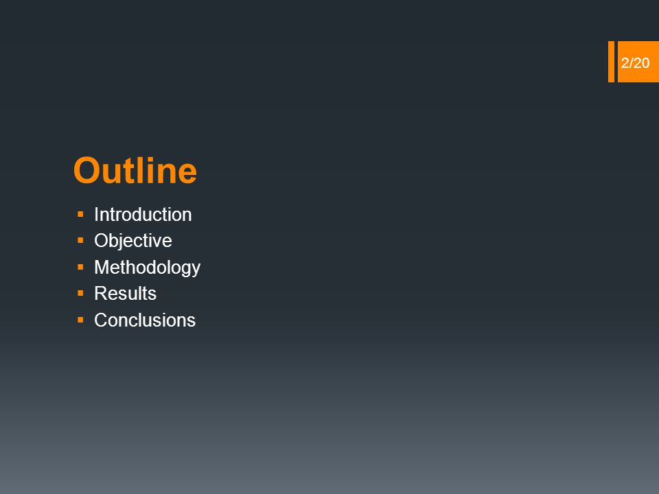 Outline  Introduction  Objective  Methodology  Results  Conclusions 2/20