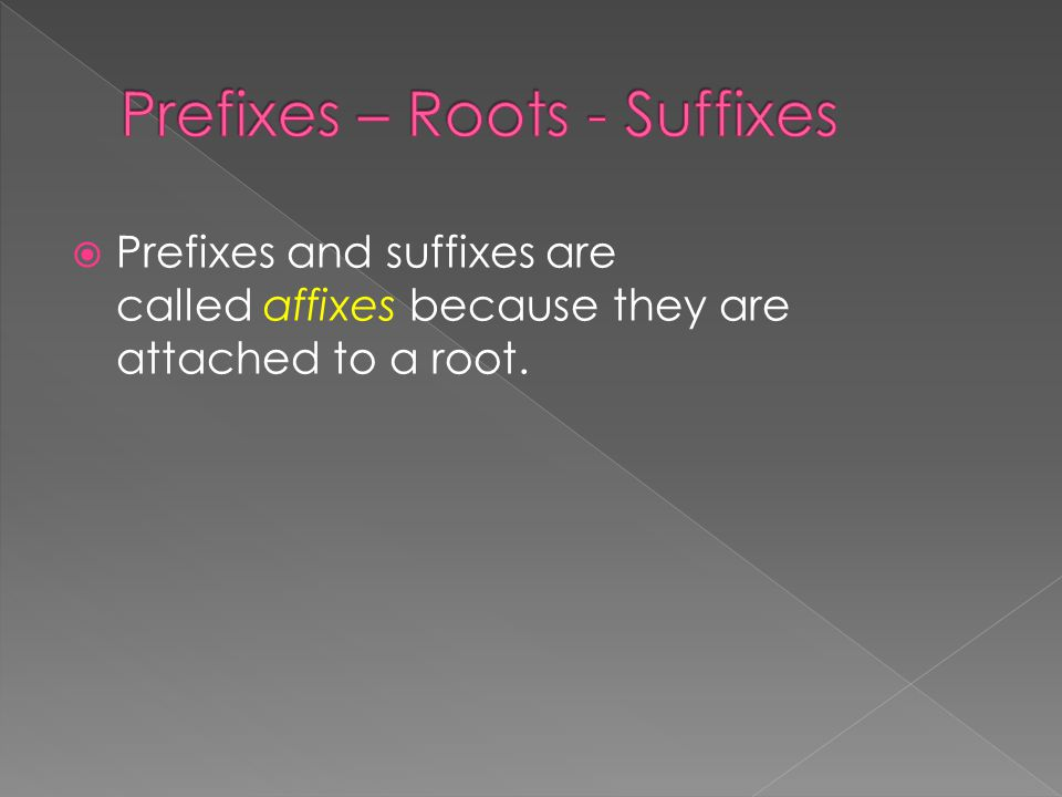  Prefixes and suffixes are called affixes because they are attached to a root.