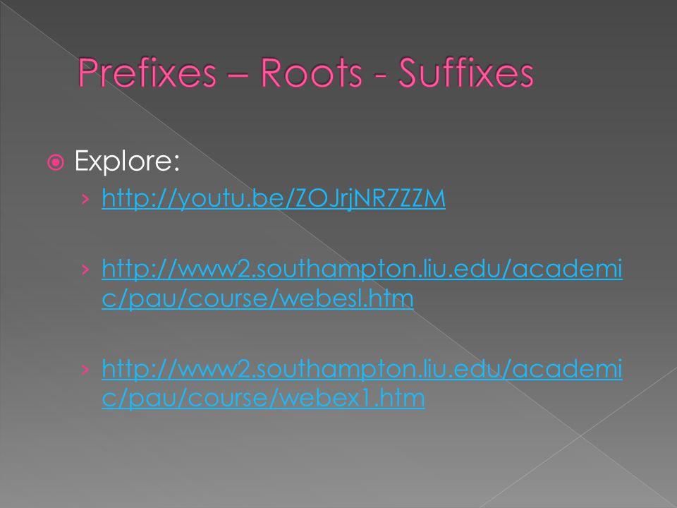  Explore: › http://youtu.be/ZOJrjNR7ZZM http://youtu.be/ZOJrjNR7ZZM › http://www2.southampton.liu.edu/academi c/pau/course/webesl.htm http://www2.sou