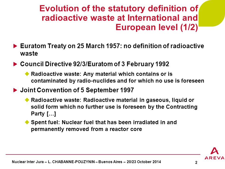 Evolution of the statutory definition of radioactive waste at International and European level (2/2) Council Directive 2006/117/Euratom of 20 November 2006  Radioactive waste: Radioactive material in gaseous, liquid or solid form for wich no further use is foreseen […]  Spent fuel: […] May either be considered as usable resource that can be reprocessed or be destined for final disposal with no further use foreseen and treated as radioactive waste Council Directive 2011/70/Euratom of 19 July 2011  Radioactive waste: Radioactive material in gaseous, liquid or solid form for which no further use is foreseen or considered by the Member State […]  Spent fuel: […] May either be considered as a usable resource that can be reprocessed or be destined for disposal if regarded as radioactive waste Nuclear Inter Jura – L.