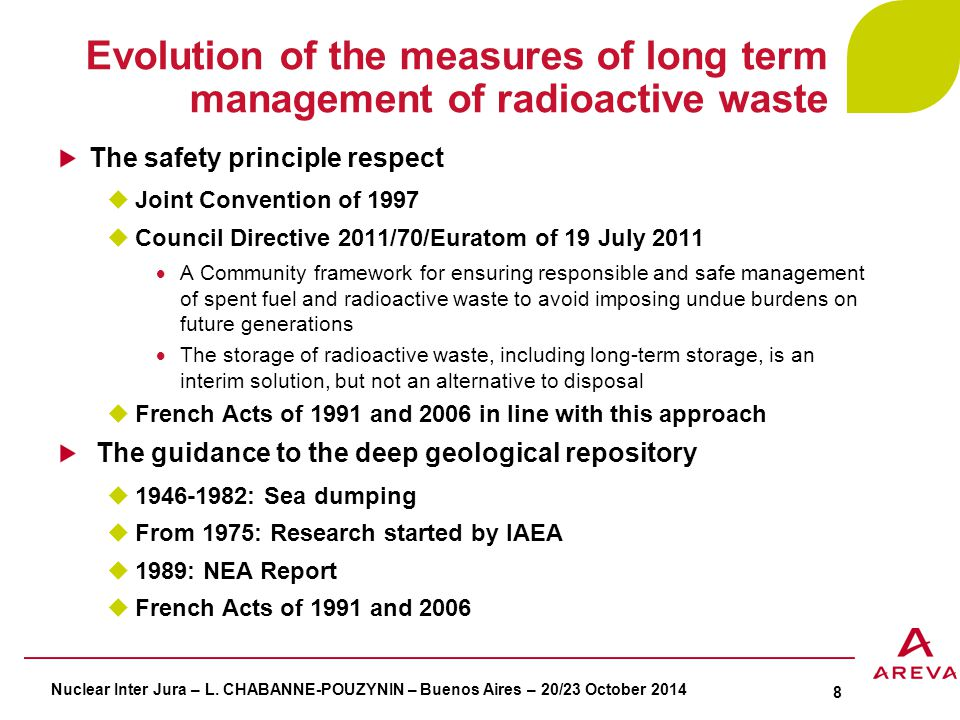 Evolution of the measures of long term management of radioactive waste The safety principle respect  Joint Convention of 1997  Council Directive 2011/70/Euratom of 19 July 2011  A Community framework for ensuring responsible and safe management of spent fuel and radioactive waste to avoid imposing undue burdens on future generations  The storage of radioactive waste, including long-term storage, is an interim solution, but not an alternative to disposal  French Acts of 1991 and 2006 in line with this approach The guidance to the deep geological repository  1946-1982: Sea dumping  From 1975: Research started by IAEA  1989: NEA Report  French Acts of 1991 and 2006 Nuclear Inter Jura – L.