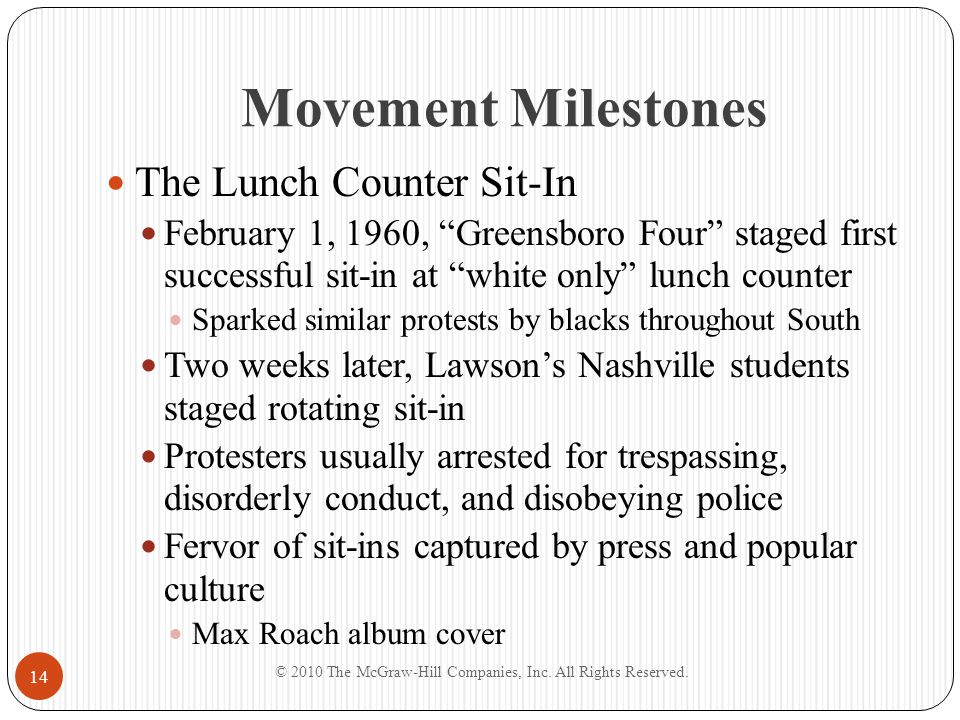 """Movement Milestones The Lunch Counter Sit-In February 1, 1960, """"Greensboro Four"""" staged first successful sit-in at """"white only"""" lunch counter Sparked"""