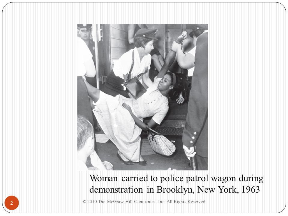 © 2010 The McGraw-Hill Companies, Inc. All Rights Reserved. 2 Woman carried to police patrol wagon during demonstration in Brooklyn, New York, 1963