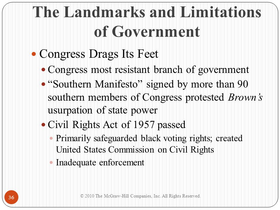 """The Landmarks and Limitations of Government Congress Drags Its Feet Congress most resistant branch of government """"Southern Manifesto"""" signed by more t"""