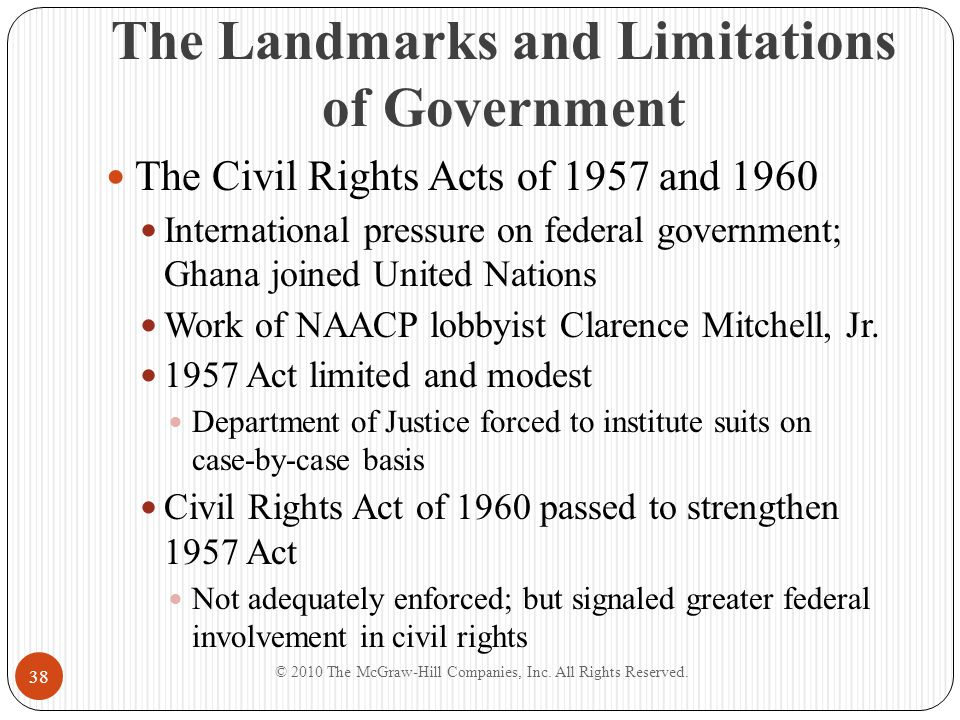 The Landmarks and Limitations of Government The Civil Rights Acts of 1957 and 1960 International pressure on federal government; Ghana joined United N