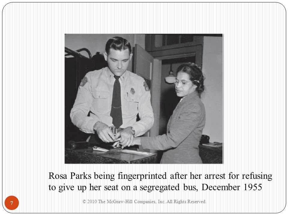 7 Rosa Parks being fingerprinted after her arrest for refusing to give up her seat on a segregated bus, December 1955