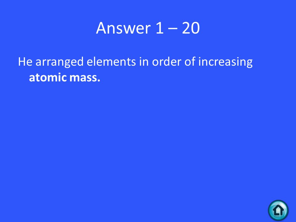 Question 1 - 30 Why is Mendeleev the Father of the Modern Periodic Table and not Meyer or both?