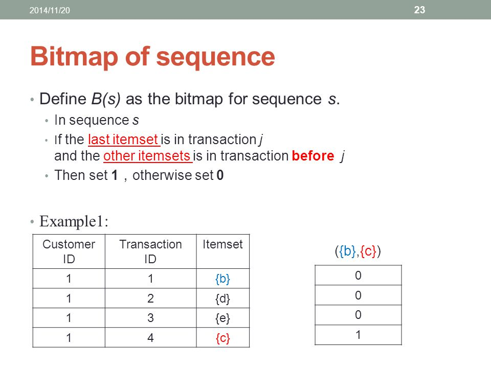 Bitmap of sequence Define B(s) as the bitmap for sequence s. In sequence s I f the last itemset is in transaction j and the other itemsets is in trans