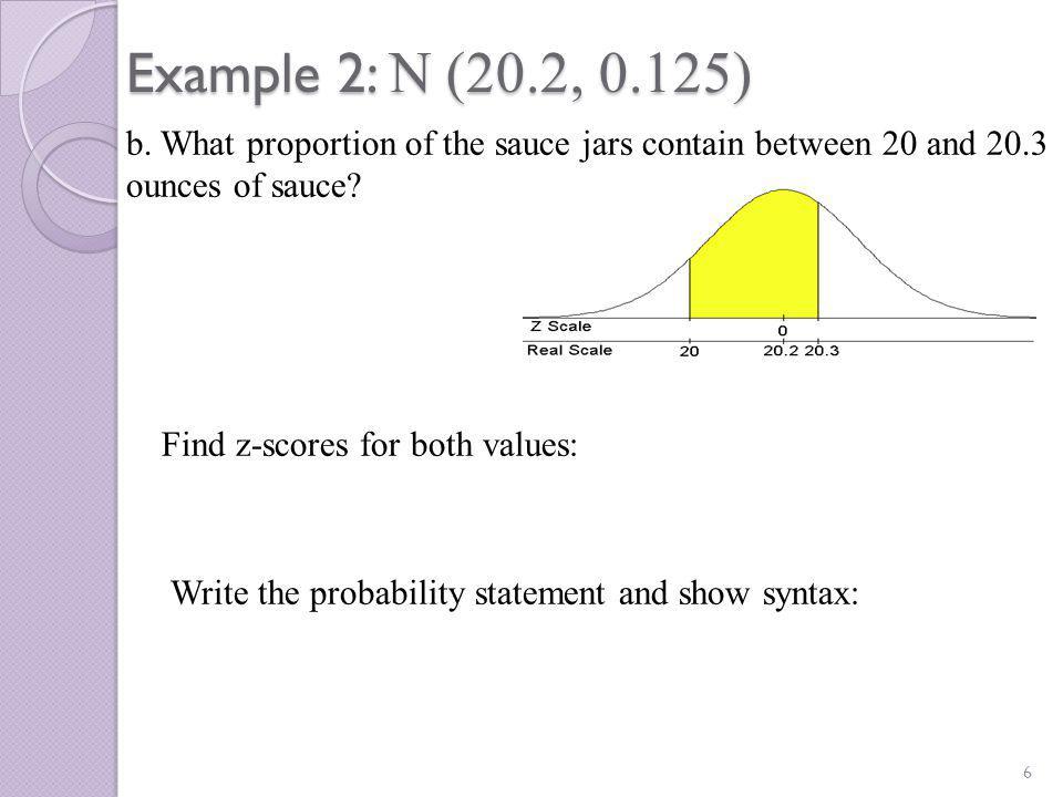 Example 2: N (20.2, 0.125) 7 c.