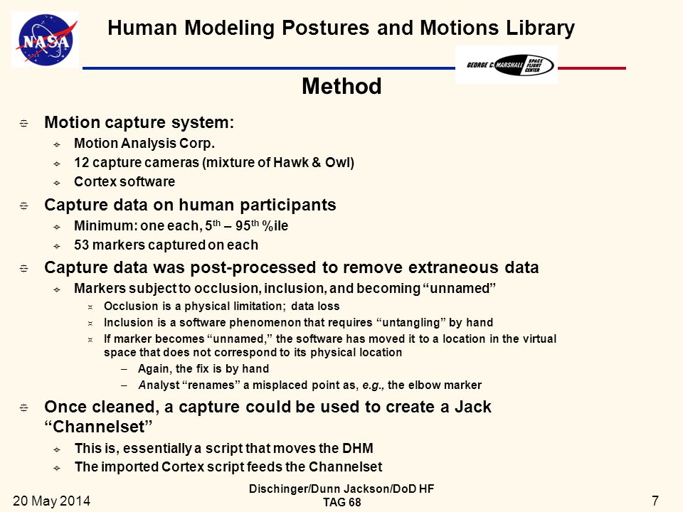 Human Modeling Postures and Motions Library 20 May 2014 Dischinger/Dunn Jackson/DoD HF TAG 68 8