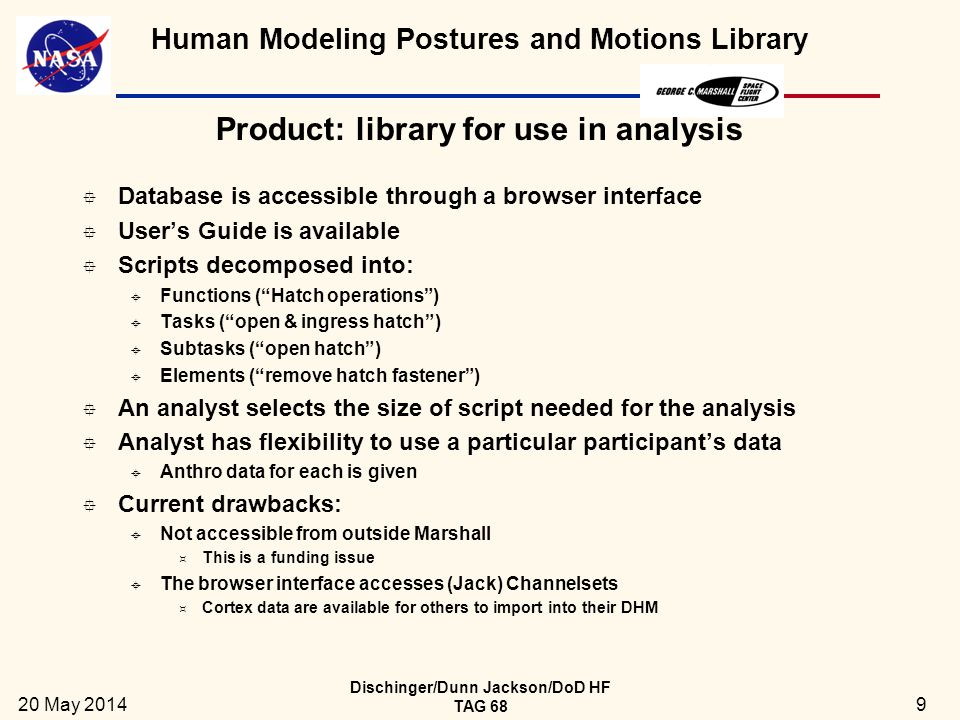 Human Modeling Postures and Motions Library Product: library for use in analysis  Database is accessible through a browser interface  User's Guide is available  Scripts decomposed into:  Functions ( Hatch operations )  Tasks ( open & ingress hatch )  Subtasks ( open hatch )  Elements ( remove hatch fastener )  An analyst selects the size of script needed for the analysis  Analyst has flexibility to use a particular participant's data  Anthro data for each is given  Current drawbacks:  Not accessible from outside Marshall  This is a funding issue  The browser interface accesses (Jack) Channelsets  Cortex data are available for others to import into their DHM 20 May 2014 Dischinger/Dunn Jackson/DoD HF TAG 68 9