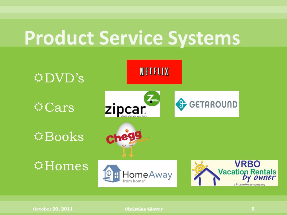  DVD's  Cars  Books  Homes October 20, 2011Christina Glover5