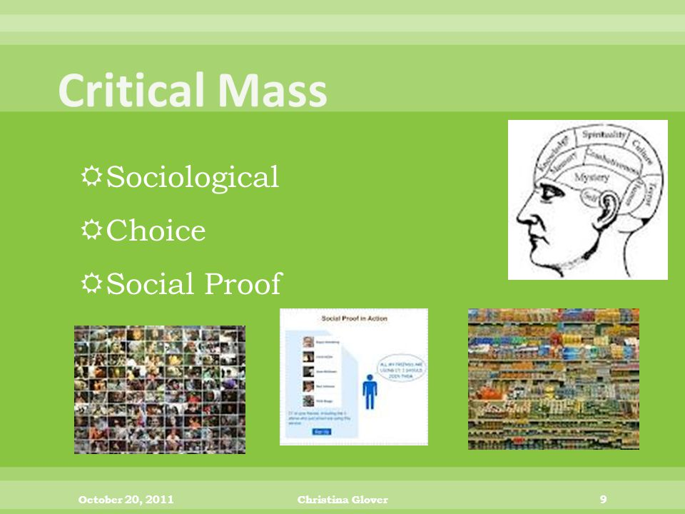  Sociological  Choice  Social Proof October 20, 2011Christina Glover9