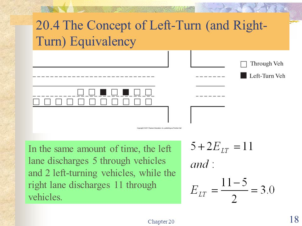 Chapter 20 18 20.4 The Concept of Left-Turn (and Right- Turn) Equivalency In the same amount of time, the left lane discharges 5 through vehicles and