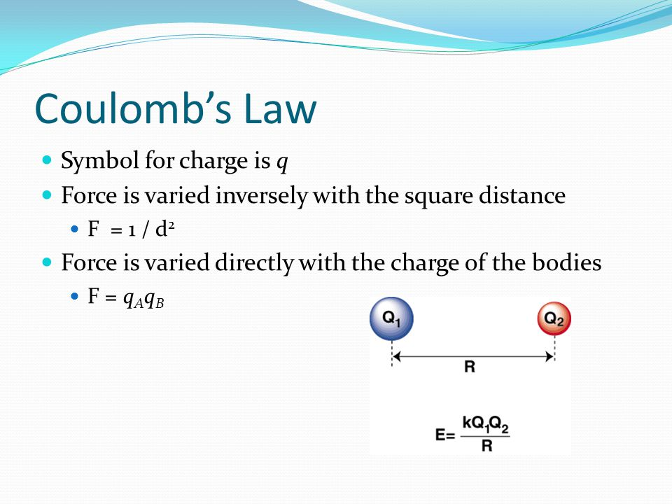 Coulomb's Law Symbol for charge is q Force is varied inversely with the square distance F = 1 / d 2 Force is varied directly with the charge of the bo