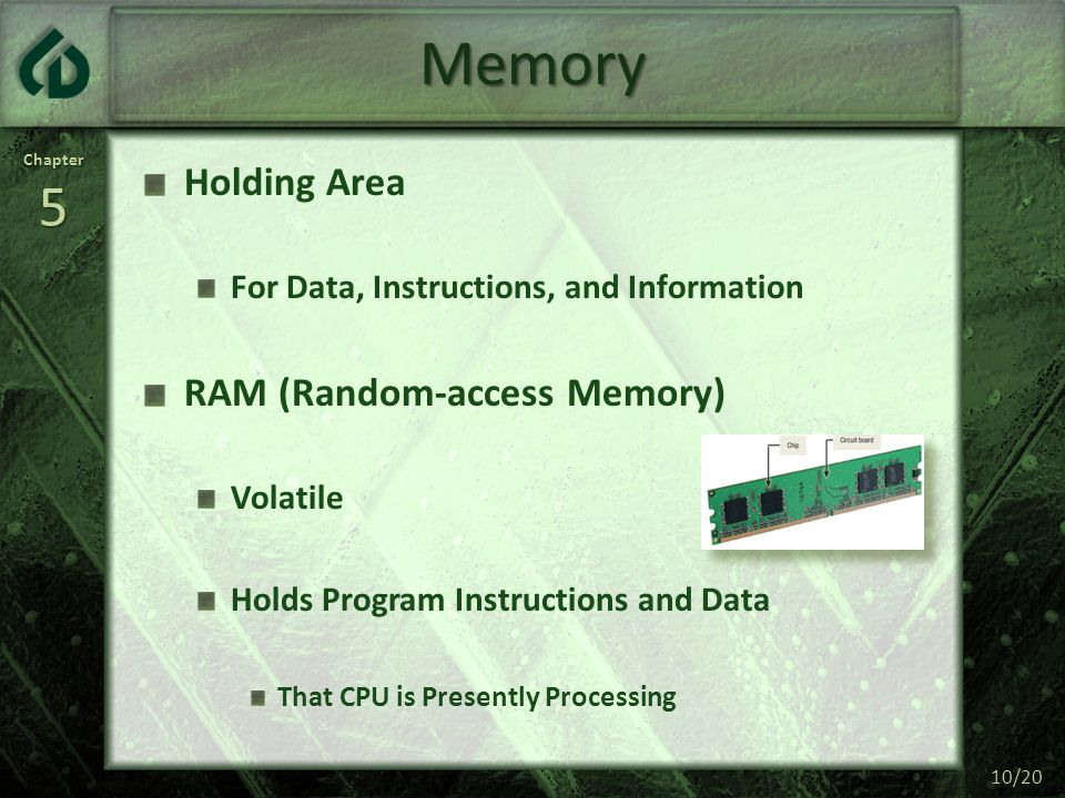 Chapter5 10/20 Memory Holding Area For Data, Instructions, and Information RAM (Random-access Memory) Volatile Holds Program Instructions and Data Tha