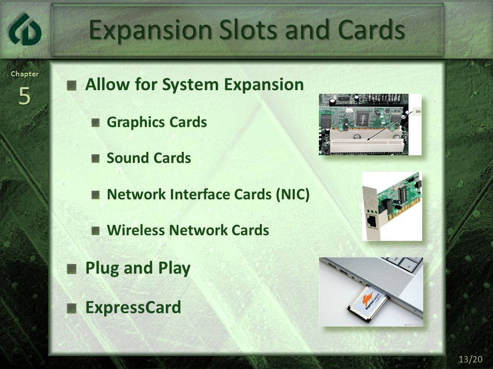 Chapter5 13/20 Expansion Slots and Cards Allow for System Expansion Graphics Cards Sound Cards Network Interface Cards (NIC) Wireless Network Cards Pl