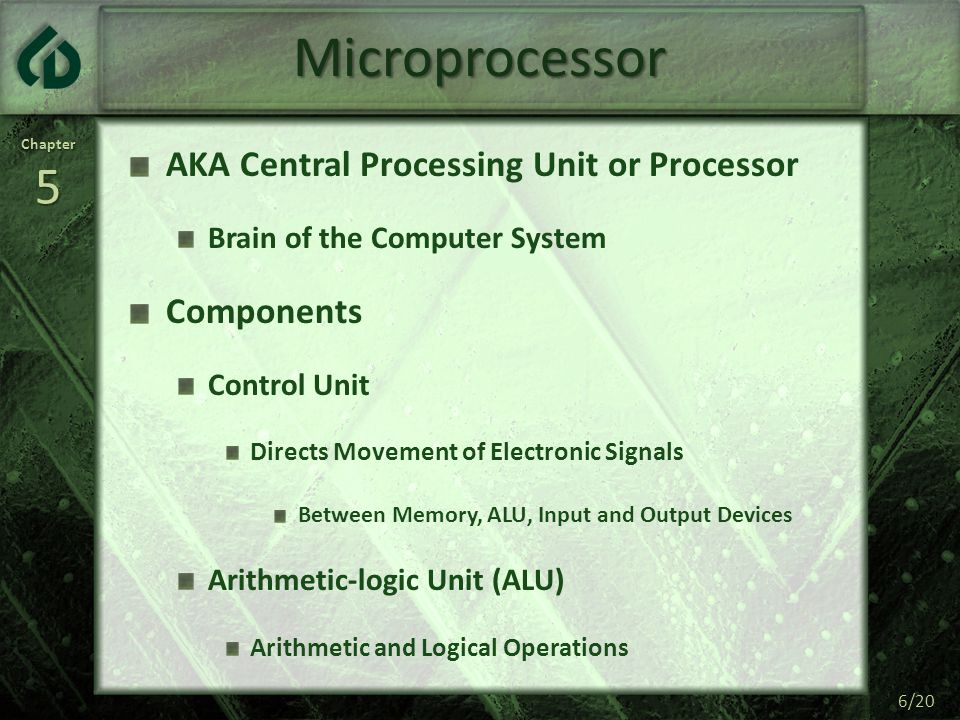 Chapter5 6/20 Microprocessor AKA Central Processing Unit or Processor Brain of the Computer System Components Control Unit Directs Movement of Electro