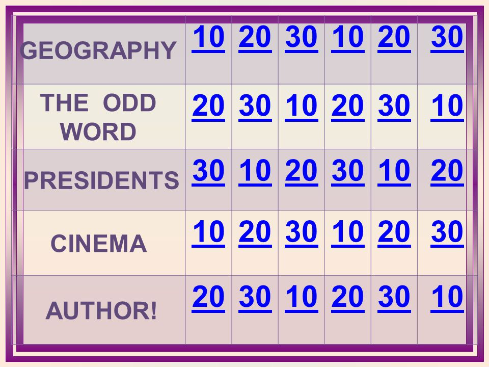 GEOGRAPHY 102030102030 THE ODD WORD 203010203010 PRESIDENTS 301020301020 CINEMA 102030102030 AUTHOR! 20203010203010