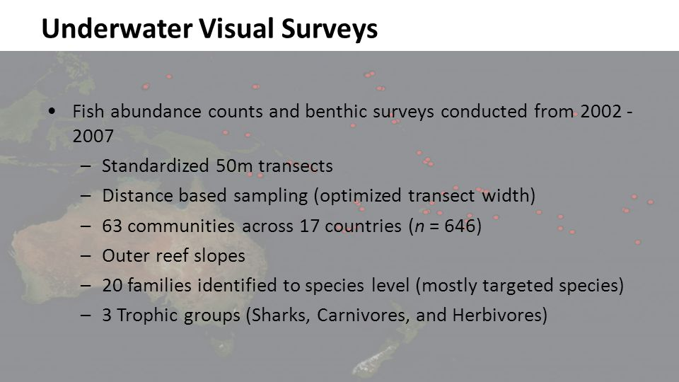 Underwater Visual Surveys Micronesia Melanesia Polynesia Fish abundance counts and benthic surveys conducted from 2002 - 2007 –Standardized 50m transects –Distance based sampling (optimized transect width) –63 communities across 17 countries (n = 646) –Outer reef slopes –20 families identified to species level (mostly targeted species) –3 Trophic groups (Sharks, Carnivores, and Herbivores)