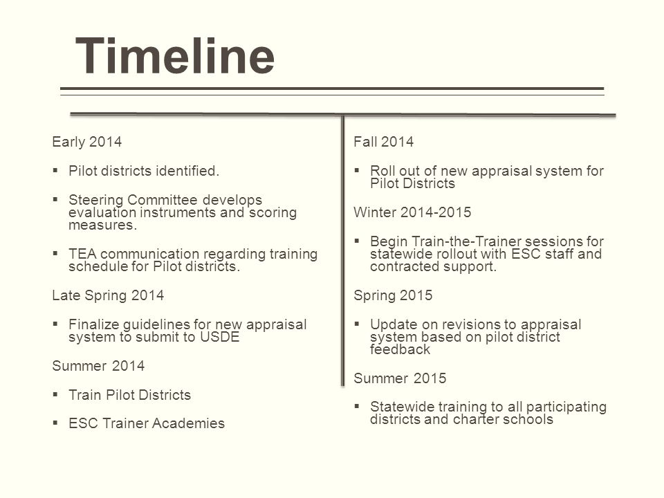 Timeline Early 2014  Pilot districts identified.  Steering Committee develops evaluation instruments and scoring measures.  TEA communication regar