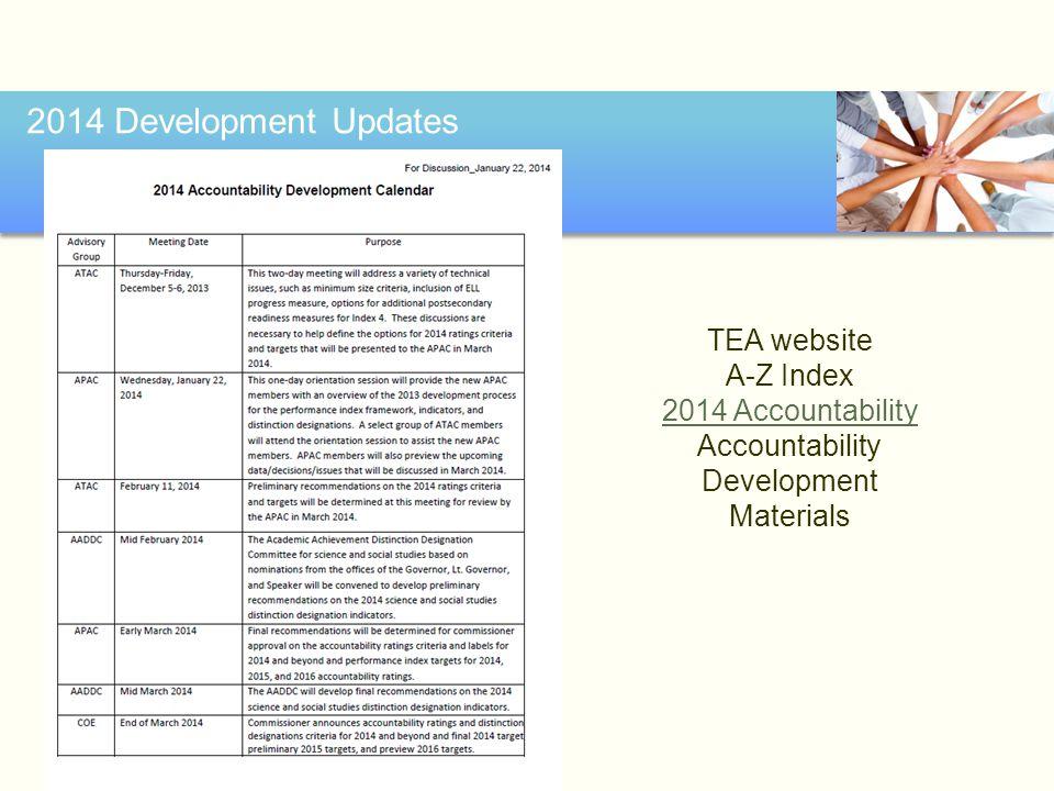 2014 Development Updates TEA website A-Z Index 2014 Accountability Accountability Development Materials