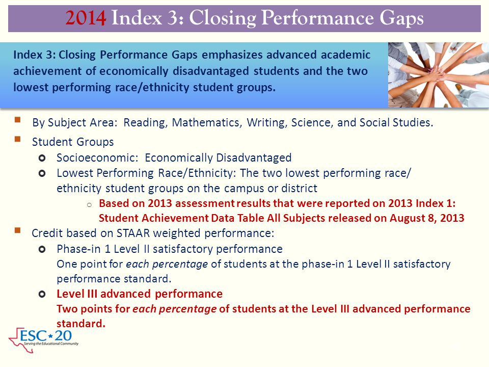 2014 Index 3: Closing Performance Gaps 40  By Subject Area: Reading, Mathematics, Writing, Science, and Social Studies.  Student Groups  Socioecono
