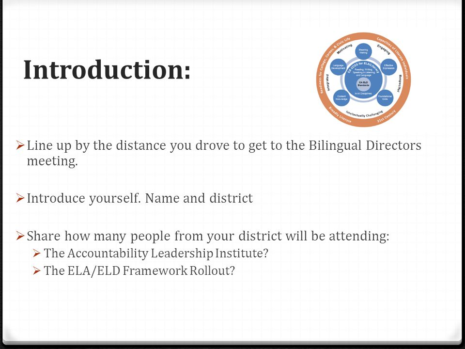 Introduction:  Line up by the distance you drove to get to the Bilingual Directors meeting.