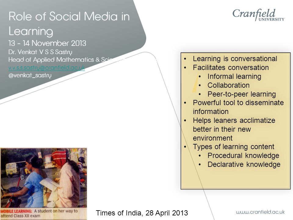 Role of Social Media in Learning 13 - 14 November 2013 Dr.