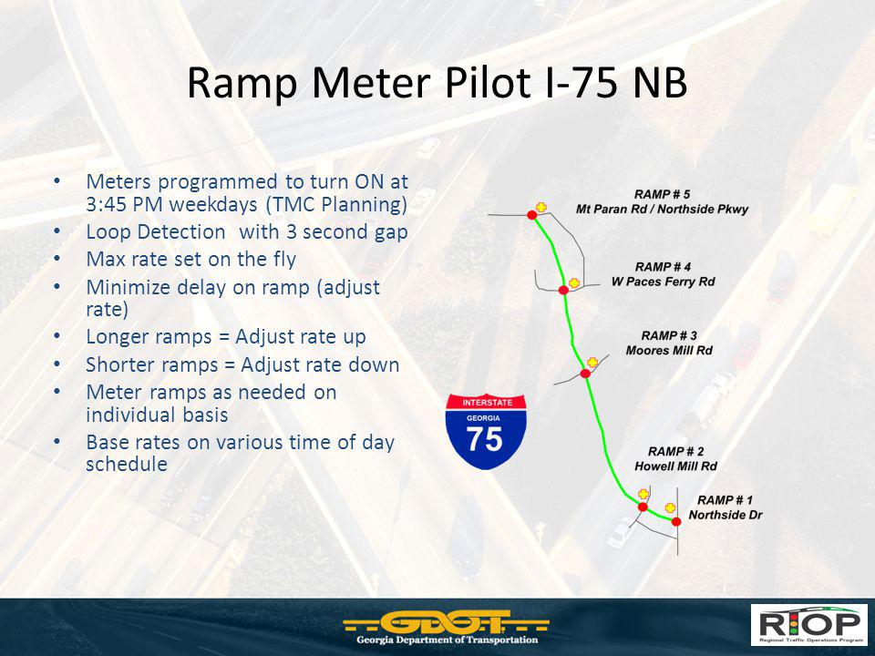 Ramp Meter Pilot I-75 NB Meters programmed to turn ON at 3:45 PM weekdays (TMC Planning) Loop Detection with 3 second gap Max rate set on the fly Mini