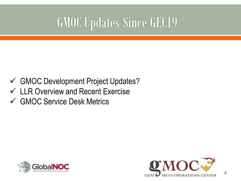 2 GMOC Development Project Updates? LLR Overview and Recent Exercise GMOC Service Desk Metrics