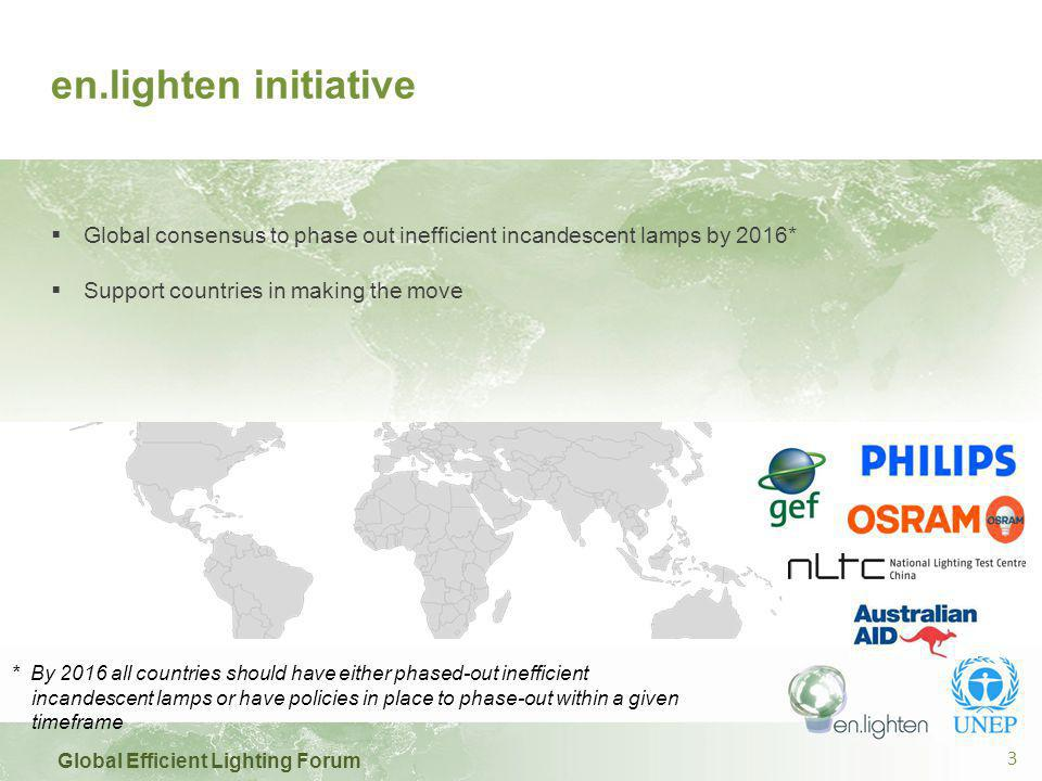 Global Efficient Lighting Forum 3 en.lighten initiative  Global consensus to phase out inefficient incandescent lamps by 2016*  Support countries in making the move * By 2016 all countries should have either phased-out inefficient incandescent lamps or have policies in place to phase-out within a given timeframe