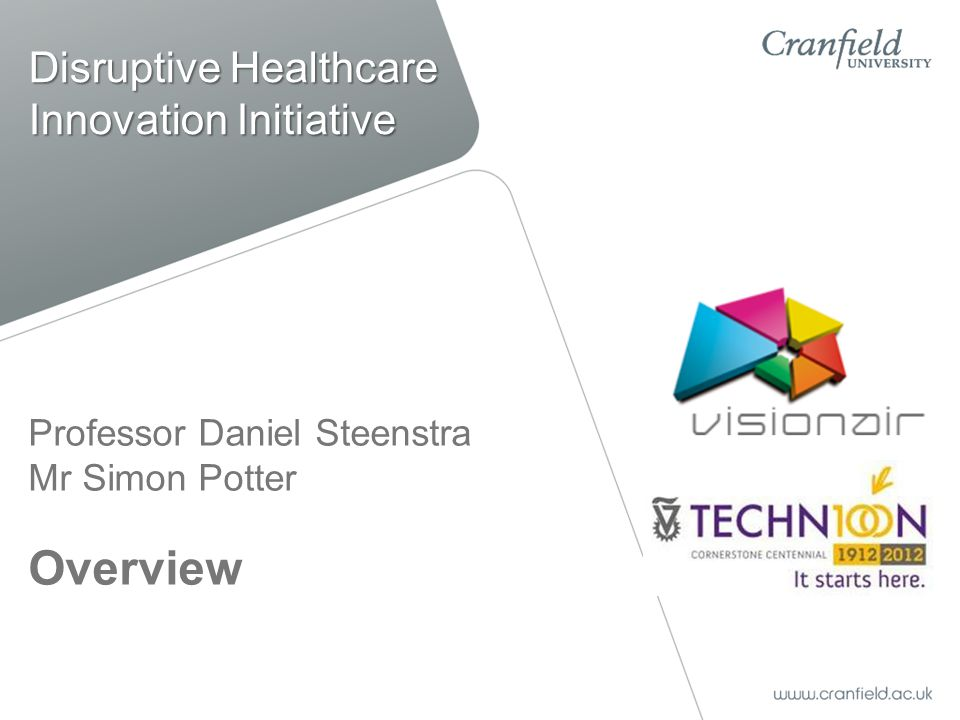 Professor Daniel Steenstra Mr Simon Potter Overview Disruptive Healthcare Innovation Initiative