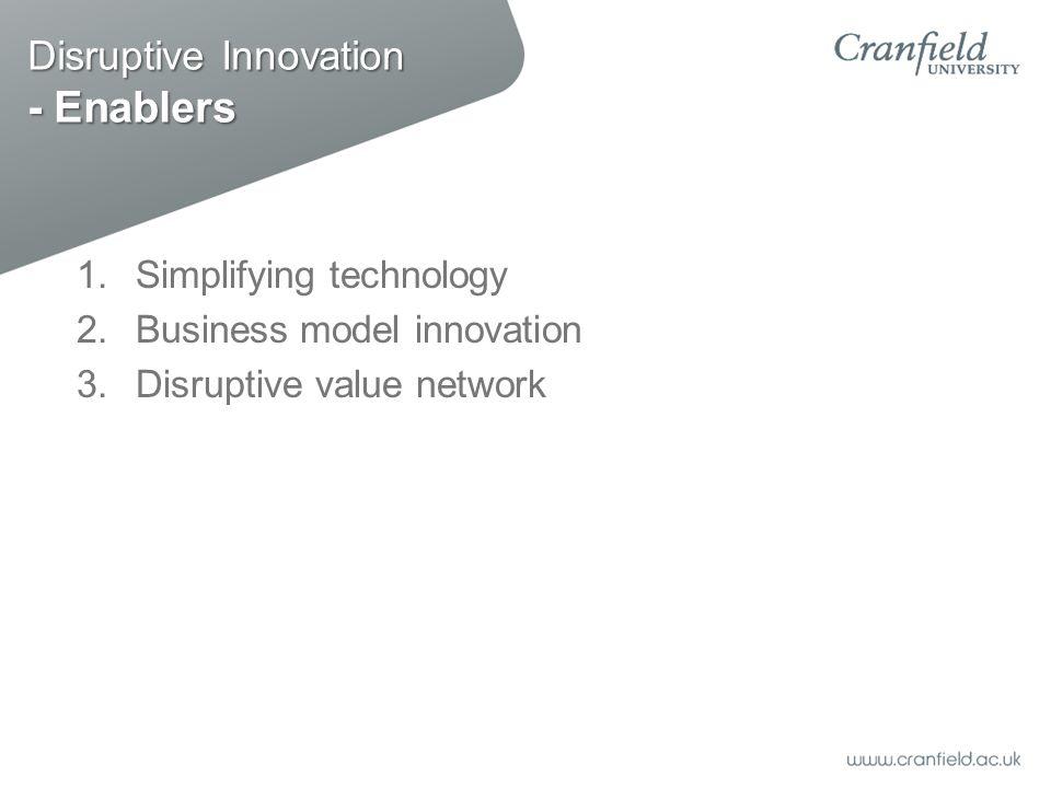 Disruptive Innovation - Enablers 1.Simplifying technology 2.Business model innovation 3.Disruptive value network