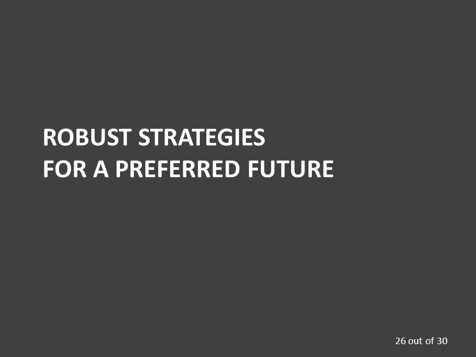 ROBUST STRATEGIES FOR A PREFERRED FUTURE 26 out of 30
