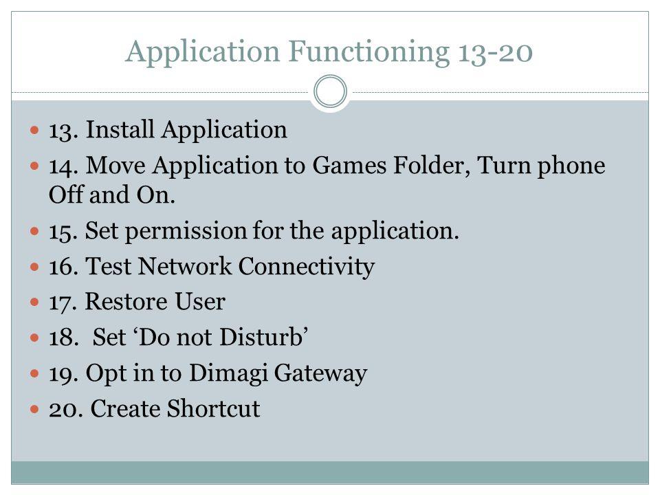 Application Functioning 13-20 13. Install Application 14.